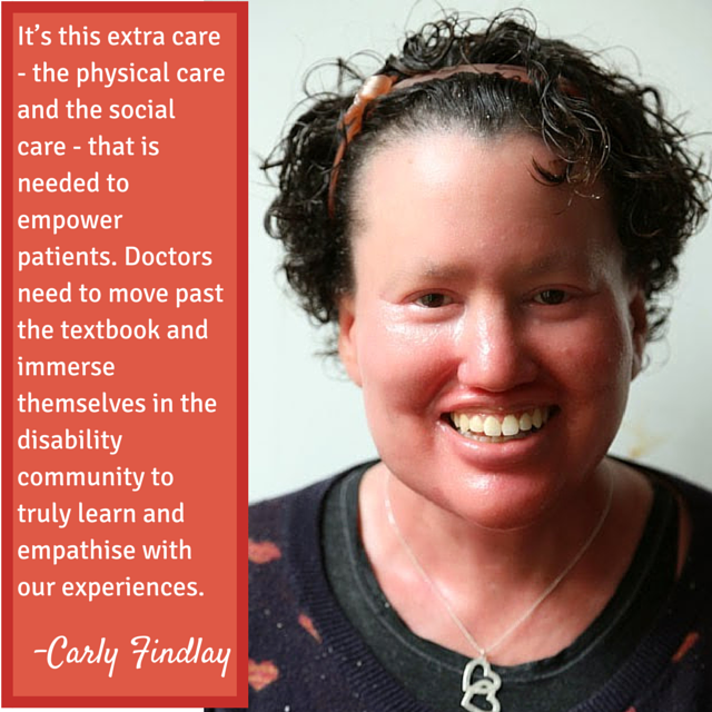 Picture of Carly Findlay and quote about the importance of doctor care that encompasses the physical and social needs of their patients