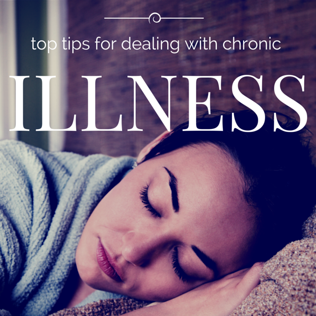 Picture of a girl in a robe, asleep on the sofa and the words 'top tips for dealing with chronic illness'