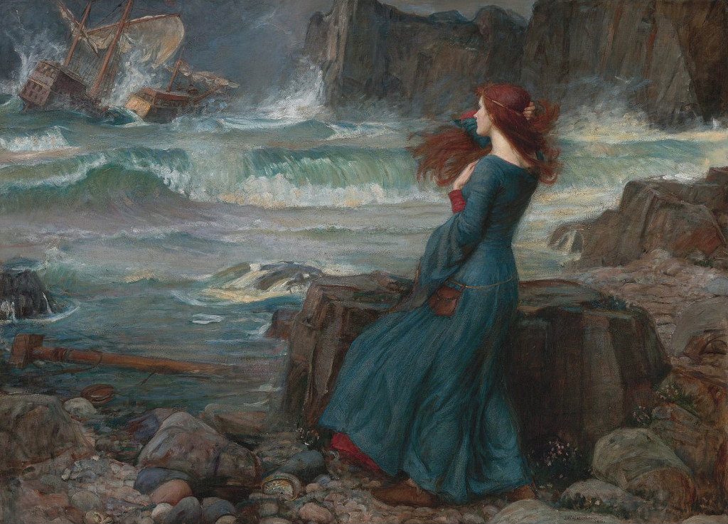 picture of an oil painting by John William Waterhouse (1916) of a redheaded girl looking out to sea at a chip being wrecked on the rocks.
